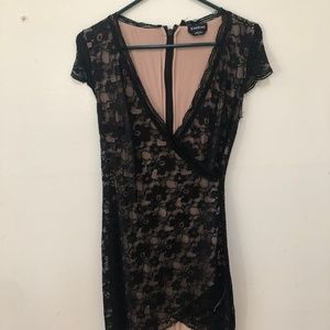 Bebe Black and Nude Short Dress Size Small